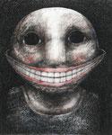 Piotr Kamieniarz: *Das Lächeln II*, 2010, Tusche, Feder, Farbstift/Papier, 25 x 24 cm