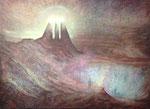 Klaus Ritterbusch: *Die heiligen drei Könige in Betrachtung des nuklearen Sperrfeuers*, 1989, Öl/Leinwand, 140 x 190 cm