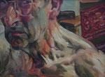 Johannes Grützke: *Selbst, skeptisch*, 21.5.2004, Öl/Leinwand, 30 x 40 cm
