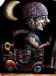 Piotr Kamieniarz: *Die Fahrt II*, 2015, Acryl/Papier,  38 x 27 cm