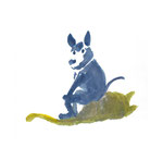 Rudi Hurzlmeier: *Blauer Hund*, 2012, Aquarell/Papier, 30 x 42 cm
