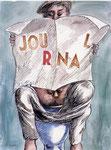 Roland Topor: *Nouvelle du jour*, 1986, Mischtechnik/Papier, 32 x 24 cm