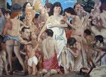 Johannes Grützke: *Mutter mit den 30 Kindern*, 1977, Öl/Leinwand, 205 x 300 cm