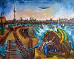 Bettina Moras: *Il diluvio su Berlino*, 2011, Öl/Leinwand, 130 x 160 cm