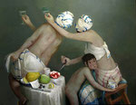 Pavel Feinstein: *N 952* (Judith & Holofernes), 2002, Öl/Leinwand, 130 x 170 cm