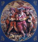 Yongbo Zhao: *Kaffeekränzchen 1*, 1998, Öl/Leinwand mit bemaltem Holzrahmen, 180 x 160 cm