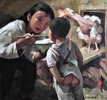 Yongbo Zhao: *Retrospektiv (Meine Schwester)*, 2003, Öl/Leinwand, 80 x 80 cm