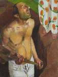 Johannes Grützke: *Begegnung beim Graben*, 1983, Pastell/Papier, 131 x 108 cm