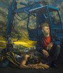 Andreas Leißner: *Schläfer*, 2014, Öl/Hartfaserplatte, 170 x 145 cm