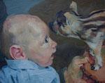 Johannes Grützke: *Kind mit Frischling*, 14.1.2008, Öl/Leinwand, 40 x 50 cm