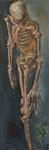 Bettina Moras: *Sich Bückender*, 2010, Öl/Leinwand, 90 x 30 cm
