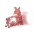 Rudi Hurzlmeier: *Sitzendes Schwein*, 2012, Aquarell/Papier, 30 x 42 cm