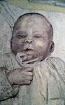 Heike Ruschmeyer: *Schlafe, mein Kindchen, schlaf ein 2*, 2004, Öl/Nessel, 210 x 133 cm