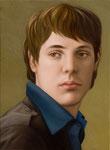 Andreas Leißner: *Selbst*, 2008, Öl/Nessel, MDF-Platte, 37 x 27 cm