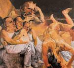 Johannes Grützke: *Im Luftschutzkeller*, 1989, Öl/Leinwand, 205 x 220 cm