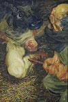 Johannes Grützke: *Theseus trifft den Minotaurus III*, 28.12.2003, Öl/Leinwand, 60 x 40 cm