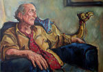 Bettina Moras: *Maurizio con camelo*, 2007, Öl/Nessel, 70 x 100