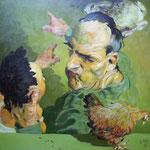 Johannes Grützke: *Verschiedene Dinge zeigen*, 26.03.2010, Öl/Leinwand, 100 x 100 cm