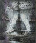 """Klaus Ritterbusch: *Die Becken* (Aus dem Zyklus """"Im Reich der Schatten""""), 1990, Mischtechnik/Leinwand, 58 x 48 cm cm"""