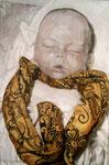 Heike Ruschmeyer: *Schlafe, mein Kindchen, schlaf ein 1*, 2004, Öl/Nessel, 210 x 138 cm