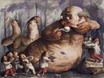 Yongbo Zhao: *Unersättlich*, 2013/14, Öl/Leinwand, 180 x 240 cm