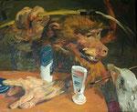 Johannes Grützke: *Die Gans*, 26.2.2004, Öl/Leinwand, 50 x 60 cm