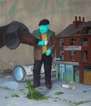 André Schulze: *Der Kaffeetrinker*, 2019, Öl/Leinwand, 70 x 60 cm