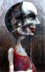 Piotr Kamieniarz: *Die Masken*, 2015, Acryl/Papier, 36 x 23 cm
