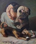 Yongbo Zhao: *Ein Knochen für Drei*, 2010, Öl/Leinwand, 100 x 80 cm