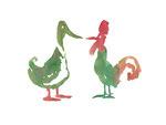 Rudi Hurzlmeier: *Ente und Hahn*, 2012, Aquarell/Papier, 30 x 42 cm