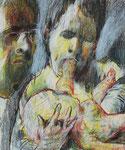 Johannes Grützke: *Familienidyll*, 1988, Pastell/Papier, 42 x 35 cm