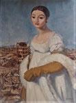 Bettina Moras: *Madmoiselle Rivière vor Trümmern*, 2018, Öl/Leinwand, 80 x 50 cm