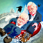 Michael von Cube: *Winter*, 2016, Öl/Leinwand, 100 x 100 cm