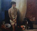 Pavel Feinstein: *N 1263* (Junge mit Hund), 2008, Öl/Leinwand, 130 x 150 cm