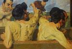 Johannes Grützke: *Männer und Hühner*, 2005, Öl/Leinwand, 136 x 200 cm