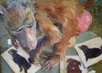 Johannes Grützke: *Ohne Worte (Pavianweibchen mit Hunden)* 2000, Öl/Leinwand, 40 x 55 cm