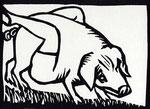 Roland Topor: *Porc épique* (Episches Schwein), 1986, Linolschnitt, 28 x 38 cm