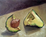 Bettina Moras: *Avocadostücke*, 2015, Öl/Leinwand, 18 x 35 cm