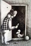 Piotr Kamieniarz: *Komm herein*, 2001, Feder,Tusche/Papier, 51 x 36 cm