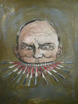 Roland Topor: *Le couteau* (Das Messer zwischen den Zähnen -  70 Jahre kommunistische und antikommunistische Plakate), 1987, Mischtechnik/Papier, 84 x 65 cm