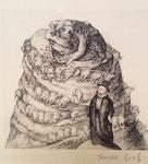Yongbo Zhao: *Turmbau zu Babel*, 2015, Bleistiftzeichnung/Papier