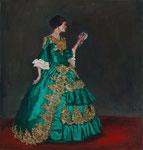Bettina Moras: *Dame mit Spiegel* (Selbst), 2019, Öl/Leinwand, 110 x 105 cm