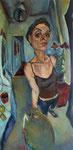 Bettina Moras: *Selbst mit Sonnenhüten*, 2008, Öl/Leinwand, 140 x 80 cm