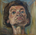 Bettina Moras: *Selbst*, 2005, Öl/Nessel, 20 x 20 cm