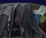 Volker Stelzmann: *Stadtzelt*, 2014, Mt/N/MDF, 100 x 120 cm