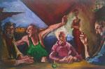Bettina Moras: *Tischgesellschaft*, 2011, Öl/Leinwand, 160 x 100 cm