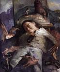 Yongbo Zhao: *Der betrunkene Maler*, 2013, Öl/Leinwand, 120 x 100 cm