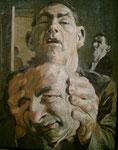 Johannes Grützke: *Ein Kopf in den Händen*, 1965, Tempera/Öl/Presstuch (Leinwand), 75 x 60 cm