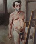 Pavel Feinstein: *N 1519* (Selbst mit Brille), 2011, Öl/Leinwand, 60 x 50 cm