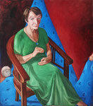 Bettina Moras: *Leere Hände*, 2015, Öl/Leinwand, 125 x 110 cm